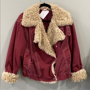Free people. Red jean jacket with camel color fur
